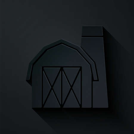 Paper cut Farm house icon isolated on black background. Paper art style. Vector