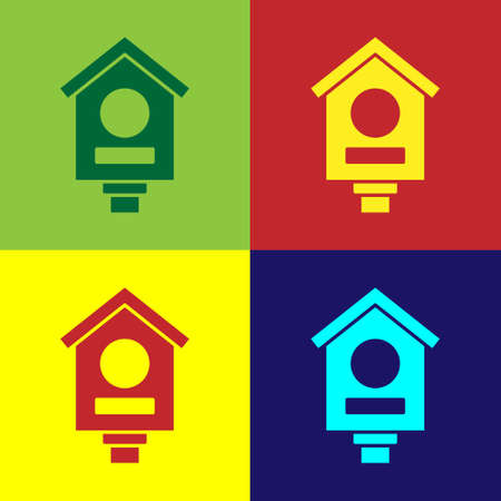 Pop art Bird house icon isolated on color background. Nesting box birdhouse, homemade building for birds. Vector
