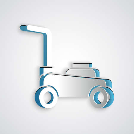 Paper cut Lawn mower icon isolated on grey background. Lawn mower cutting grass. Paper art style. Vector