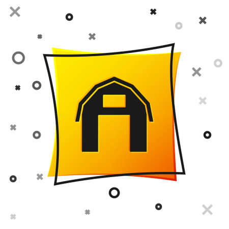 Black Farm house icon isolated on white background. Yellow square button. Vector