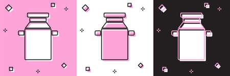 Set Can container for milk icon isolated on pink and white, black background. Vector Иллюстрация