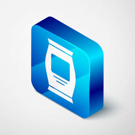 Isometric Fertilizer bag icon isolated on grey background. Blue square button. Vector