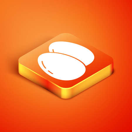 Isometric Chicken egg icon isolated on orange background. Vector
