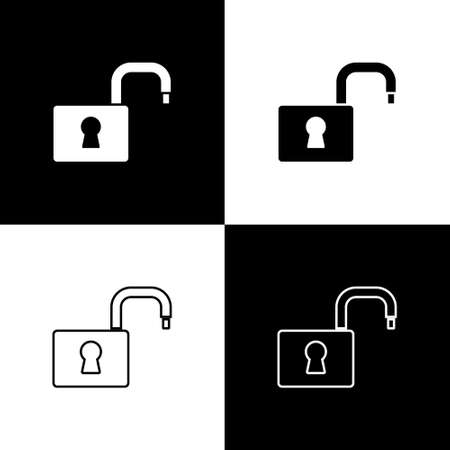 Set Open padlock icon isolated on black and white background. Opened lock sign. Cyber security concept. Digital data protection. Vector
