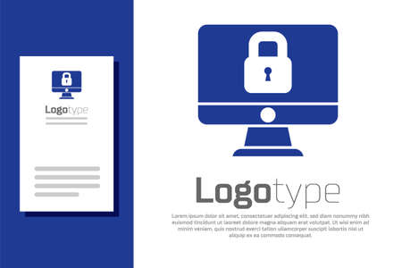 Blue Lock on computer monitor screen icon isolated on white background. Security, safety, protection concept. Safe internetwork. Logo design template element. Vector