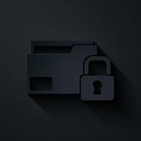 Paper cut Folder and lock icon isolated on black background. Closed folder and padlock. Security, safety, protection concept. Paper art style. Vector Illusztráció