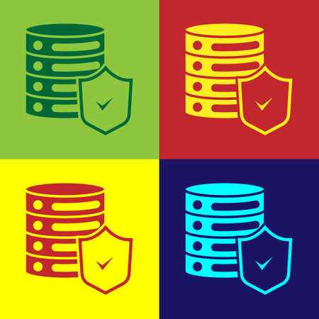 Pop art Server with shield icon isolated on color background. Protection against attacks. Network firewall, router, switch, data. Vector