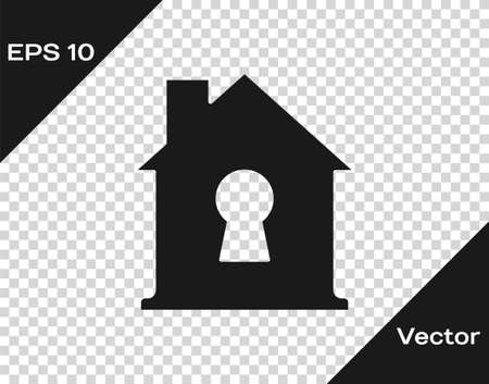 Black House under protection icon isolated on transparent background. Home and shield. Protection, safety, security, protect, defense concept. Vector