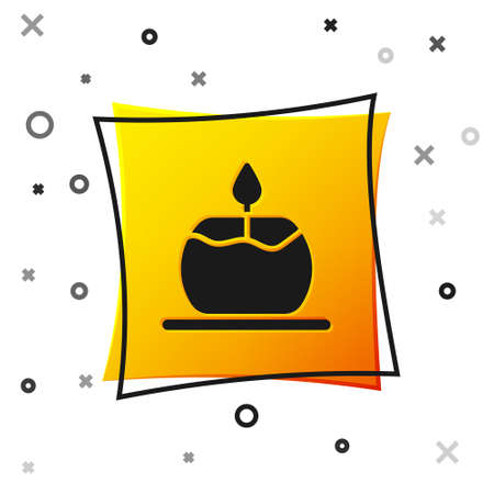 Black Aroma candle icon isolated on white background. Yellow square button. Vector Ilustração