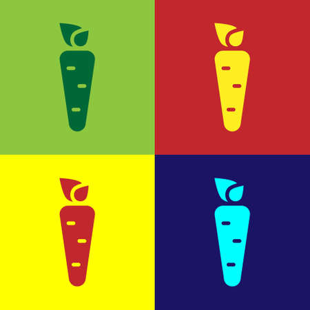 Pop art Carrot icon isolated on color background. Vector Ilustração