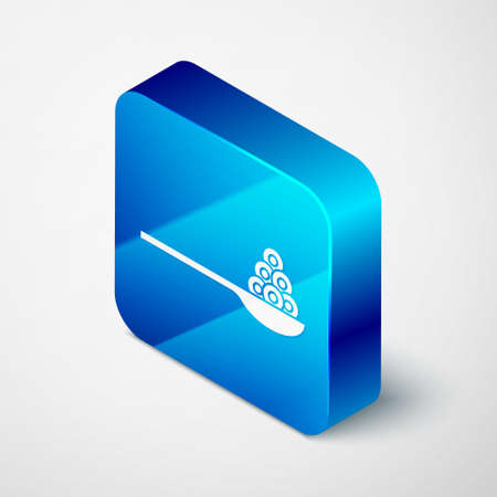 Isometric Caviar on a spoon icon isolated on grey background. Blue square button. Vector.