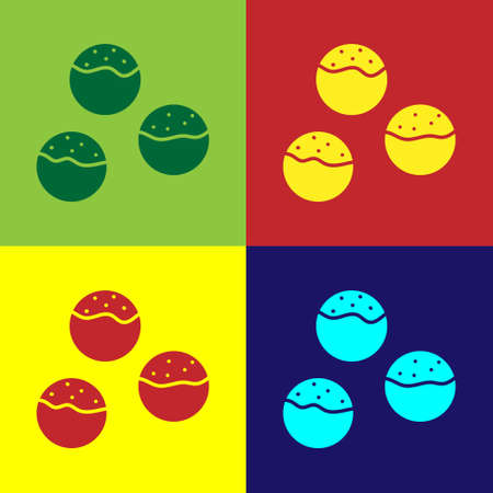 Pop art Takoyaki icon isolated on color background. Japanese street food. Vector.