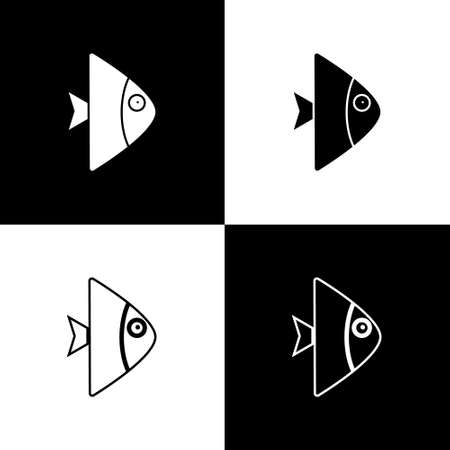 Set Fish icon isolated on black and white background. Vector. Ilustração