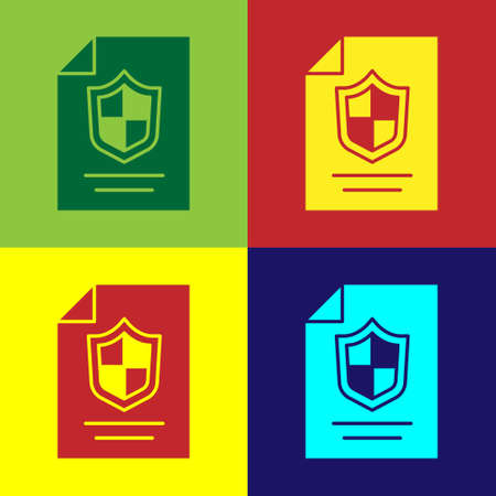 Pop art Contract with shield icon isolated on color background. Insurance concept. Security, safety, protection, protect concept. Vector. Stock Illustratie