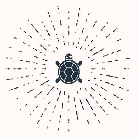 Grey Turtle icon isolated on beige background. Abstract circle random dots. Vector. Ilustração