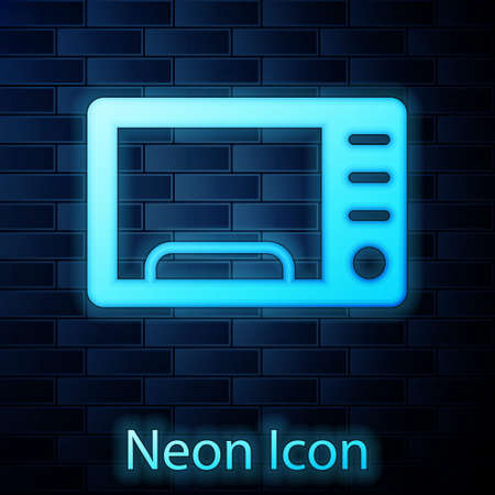 Glowing neon Microwave oven icon isolated on brick wall background. Home appliances icon. Vector 向量圖像