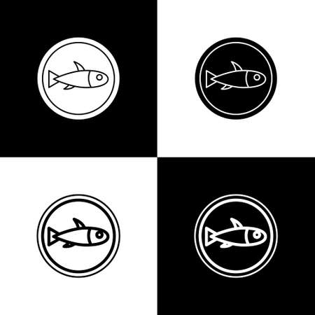 Set Served fish on a plate icon isolated on black and white background. Vector. Çizim