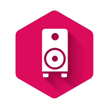 White Stereo speaker icon isolated with long shadow. Sound system speakers. Music icon. Musical column speaker bass equipment. Pink hexagon button. Vector