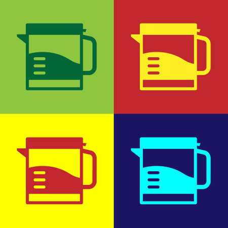 Pop art Electric kettle icon isolated on color background. Teapot icon. Vector