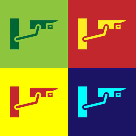 Pop art Security camera icon isolated on color background. Vector