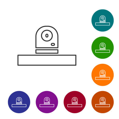 Black line Security camera icon isolated on white background. Set icons in color circle buttons. Vector