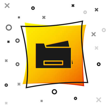 Black Printer icon isolated on white background. Yellow square button. Vector