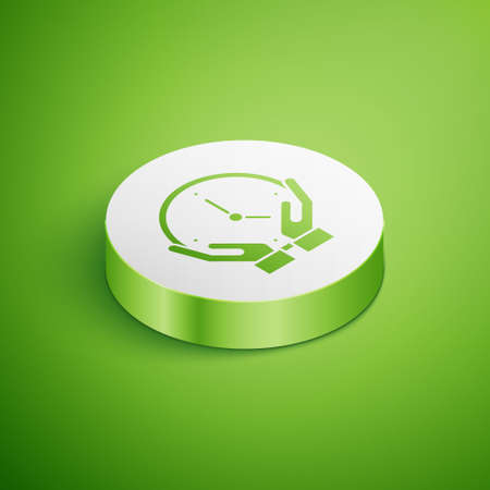 Isometric Clock icon isolated on green background. Time symbol. White circle button. Vector