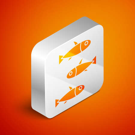 Isometric Fishes icon isolated on orange background. Silver square button. Vector.