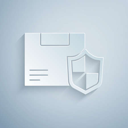 Paper cut Delivery security with shield icon isolated on grey background. Delivery insurance. Insured cardboard boxes beyond the shield. Paper art style. Vector. Illustration