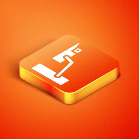 Isometric Security camera icon isolated on orange background. Vector Illusztráció