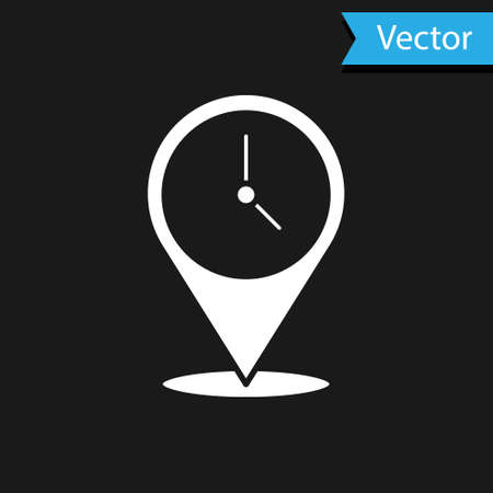 White Location with clock icon isolated on black background. Vector