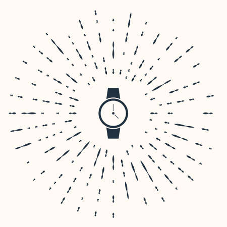 Grey Wrist watch icon isolated on beige background. Wristwatch icon. Abstract circle random dots. Vector Illustration