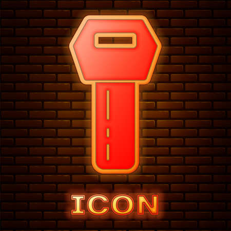Glowing neon Car key with remote icon isolated on brick wall background. Car key and alarm system. Vector