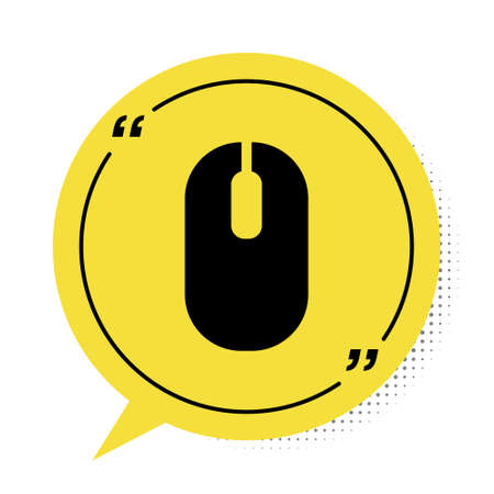 Black Computer mouse icon isolated on white background. Optical with wheel symbol. Yellow speech bubble symbol. Vector