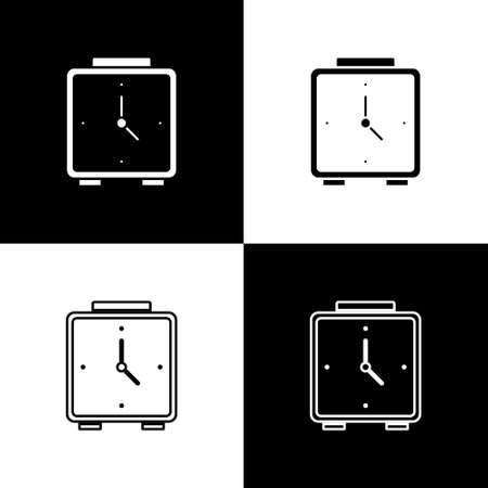 Set Alarm clock icon isolated on black and white background. Wake up, get up concept. Time sign. Vector Illustration