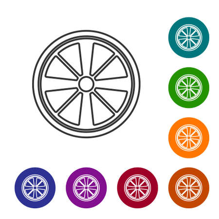 Black line Alloy wheel for a car icon isolated on white background. Set icons in color circle buttons. Vector