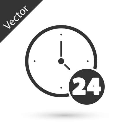 Grey Clock 24 hours icon isolated on white background. All day cyclic icon. 24 hours service symbol. Vector