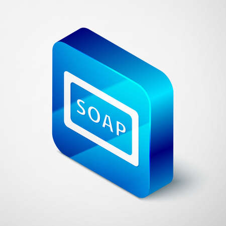 Isometric Bar of soap icon isolated on grey background. Soap bar with bubbles. Blue square button. Vector.