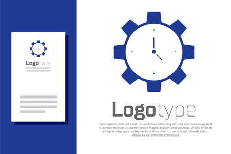 Blue Time Management icon isolated on white background. Clock and gear sign. Productivity symbol. Logo design template element. Vector