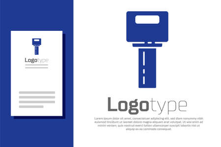 Blue Car key with remote icon isolated on white background. Car key and alarm system. Logo design template element. Vector Illusztráció