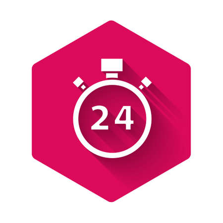 White Stopwatch 24 hours icon isolated with long shadow. All day cyclic icon. 24 hours service symbol. Pink hexagon button. Vector