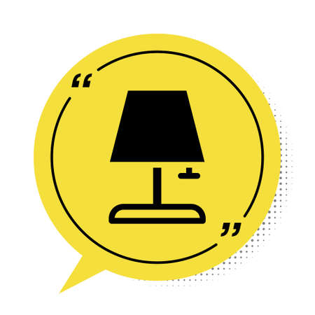 Black Table lamp icon isolated on white background. Yellow speech bubble symbol. Vector Illustration
