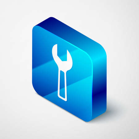 Isometric Wrench spanner icon isolated on grey background. Blue square button. Vector