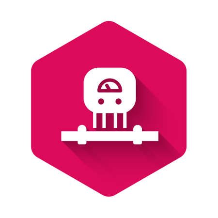 White Smart sensor system icon isolated with long shadow. Internet of things concept with wireless connection. Pink hexagon button. Vector Illusztráció