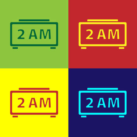 Pop art Digital alarm clock icon isolated on color background. Electronic watch alarm clock. Time icon. Vector