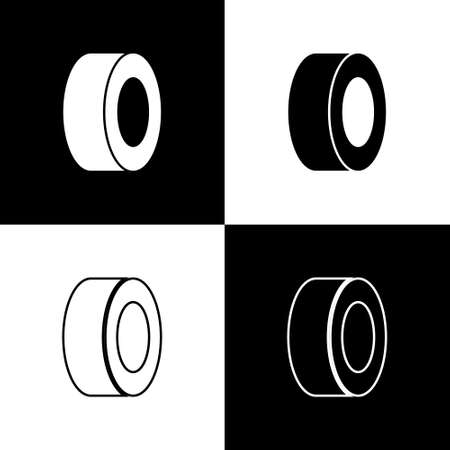 Set Car tire icon isolated on black and white background. Vector