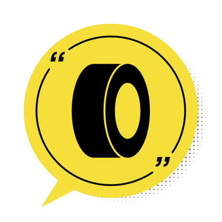 Black Car tire icon isolated on white background. Yellow speech bubble symbol. Vector Illustration