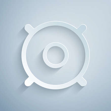 Paper cut Car audio speaker icon isolated on grey background. Paper art style. Vector Illusztráció