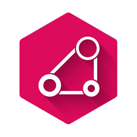 White Timing belt kit icon isolated with long shadow. Pink hexagon button. Vector