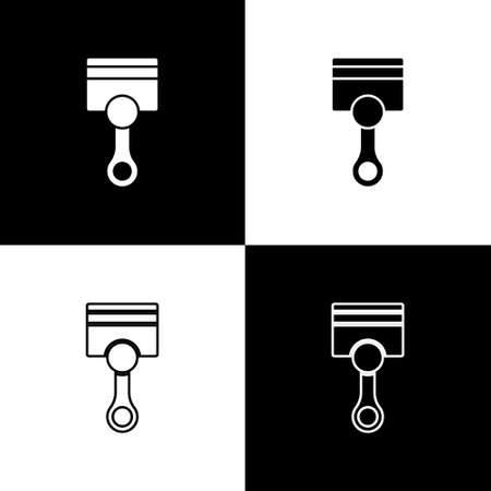 Set Engine piston icon isolated on black and white background. Car engine piston sign. Vector Stock Illustratie